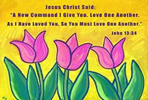 3 tulips & scripture, art by Angela Young
