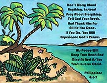 Postcard about God's peace by artist Angela Young