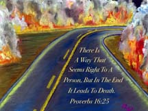 Road through flames postcard by artist Angela Young