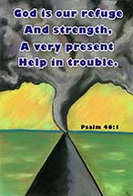 A Tornado over a Midwestern road with scripture, art by Angela Young