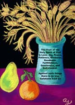 Vase of wheat, orange, and pear postcard  by artist Angie Young